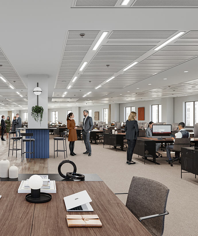 An indicative view of a corporate fit out on level 2